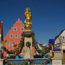 Wemdinger Stadtring in 3D zeigt Marktbrunnen mit Mariensäule